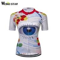 Weimostar Women S Bike Clothing Cycling Jersey Wear Team Bike Jersey Big Blue Eyes Jacket Shirt