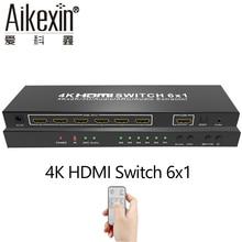 6×1 HDMI Switch com Controle Remoto IR, Aikexin 6 Portas HDMI Switch Selector 6 em 1 out Switcher Apoio HDMI1.4v Ultra HD 4 K 1080 P 3D