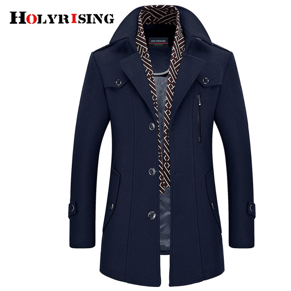 Holyrising Men Coat Wool Overcoat Turn Collar Warm Jackets Woolen Men Coats And Blends With Scarf Breathable Outwear 18423-5(China)