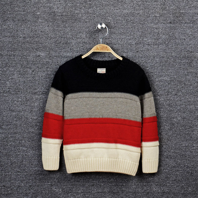 1fc9ecf87f kids boys triple color-block striped knitted pullover cotton casual fall  winter sweaters child fashion outwear sweater clothes