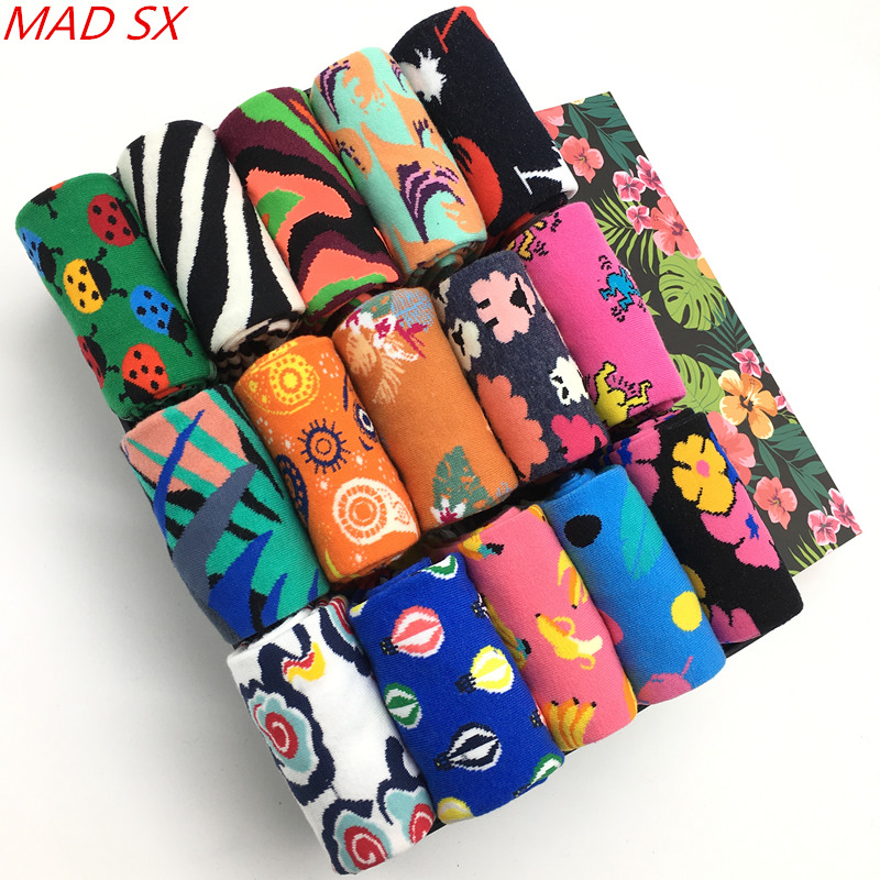 10 Paare/los Bunte Baumwolle Herren Socken Neuheit Lustige Muster Casual Kleid Socken Mode-design Atmungsaktive Funky Glücklich Socken