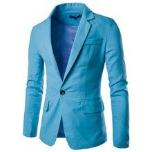 Зима 2017 брендовая одежда Блейзер Для мужчин одной кнопки Для мужчин Блейзер костюм Slim Fit Homme пиджак мужской пиджак M-2XL 9082