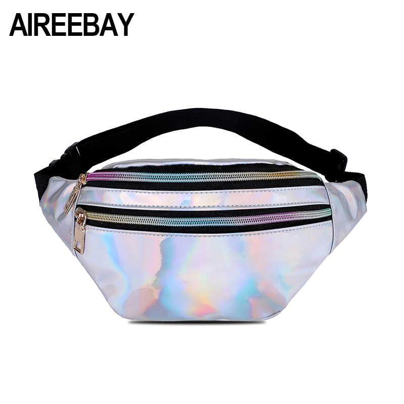 ee86587b3b AIREEBAY New Holographic Fanny Pack Female Silver Laser Waist Packs Hip  Waist Bag Women s Hologram Belt