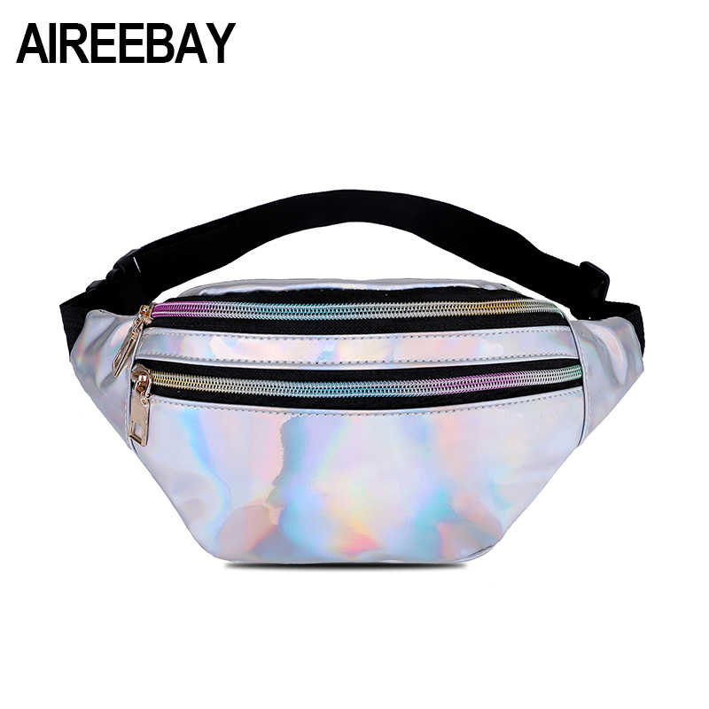AIREEBAY Novo Holográfica Bloco de Fanny Cintura Packs Saco Da Cintura Quadril Feminino Prata A Laser Holograma Sacos Cinto Bolsa Bolsa das Mulheres telefone