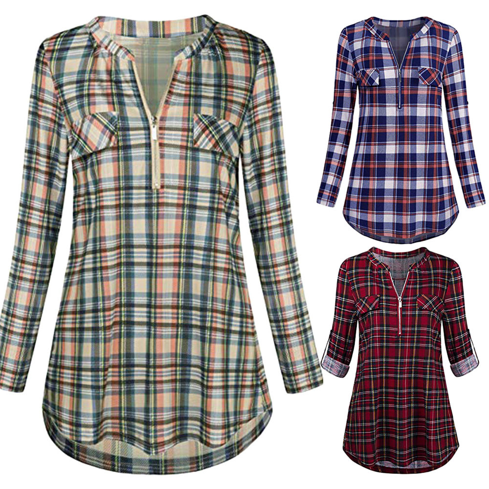Students Blouse Short Sleeve Loose Plaid V-neck Doll Women Shirts Summer Tops Women's Clothing