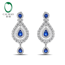 Unplated 14K Gold Natural 3.61ct Sapphires  & 1.2ct Natural Diamonds Earrings Caimao Jewelry