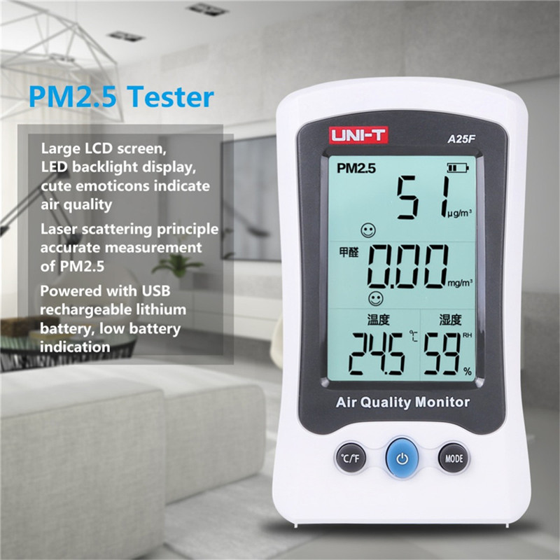 UNI-T A25F Desktop Formaldehyde PM2.5 Detector Air Quality Temperature Measurement Meter with LCD display Formaldehyde tester цена