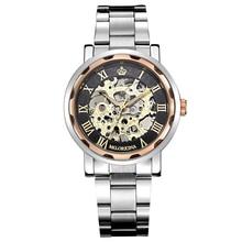 MG. ORKINA Oro Correa de Acero Relojes de Los Hombres Relojes Esqueleto de la Mano del Viento Reloj Mecánico Relogio masculino
