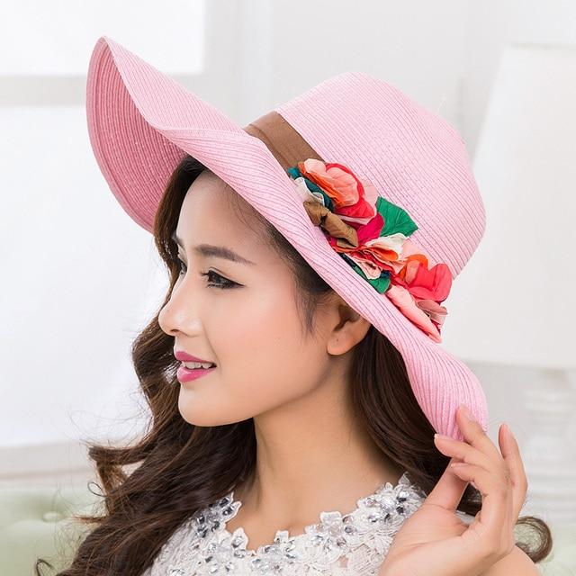 Verano mujer sun sombreros grandes sombreros de playa para mujeres plegable del sombrero del sol liso y estampado floral wide sol del borde sombreros para mujeres con grandes cabezas