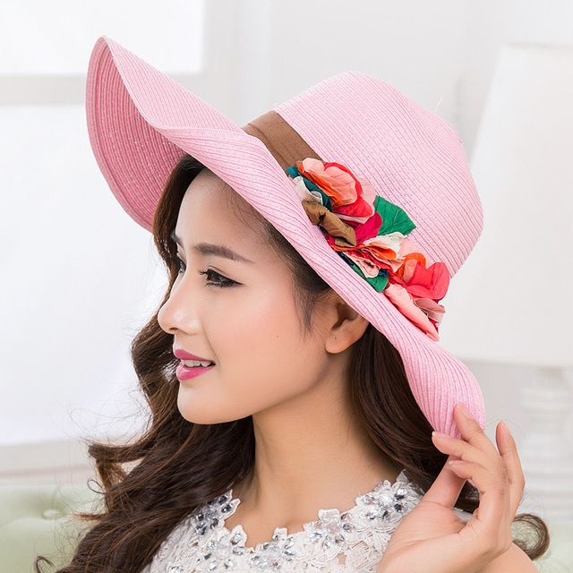 women s summer sun hats big beach hats for women foldable sun hat plain  floral print wide e4bf2a9a2763