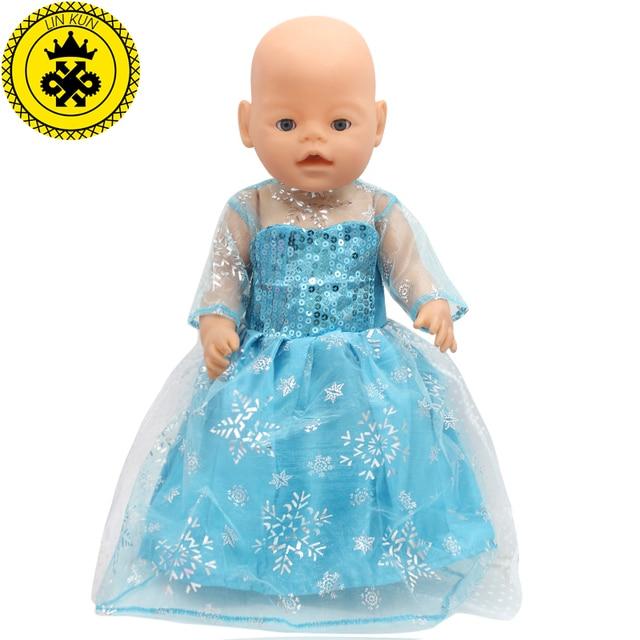c072f87837cc86 Super 43 cm Baby Born Zapf Pop Jurk Kleding Pop Accessoires Elsa blauw YT54