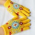 Niños Unisex Invierno Cálido guantes de Cordón Patrón de Flor de Nieve Niños Niño Niña Lana Tejido de Punto Cubierto Dedos Mitones Guante.