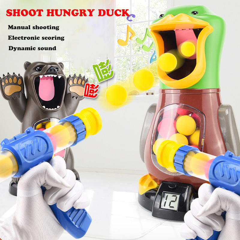 Air Pump Shoot Hungry Duck Electronic Scoring Dynamic Music EVA Foam Ball Funny Novel Toys For Children Shooting Angry Lion Bear