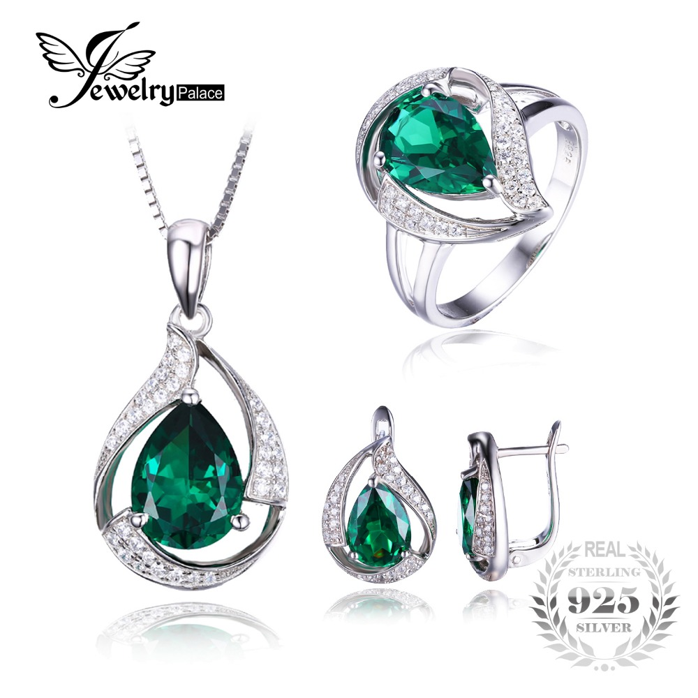 Jewepalace Water Drop Created Emerald Jewelry Set 925 Sterling Silver Ring Necklace Pendant Earring Women Bridal