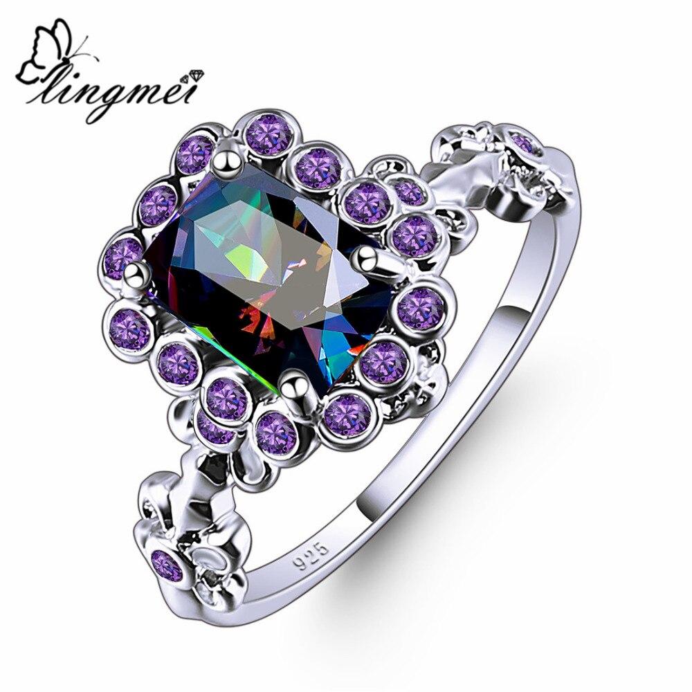 Lucky Jewelly Oval Heart Cut Design Multicolor /& Purple White CZ Silver 6