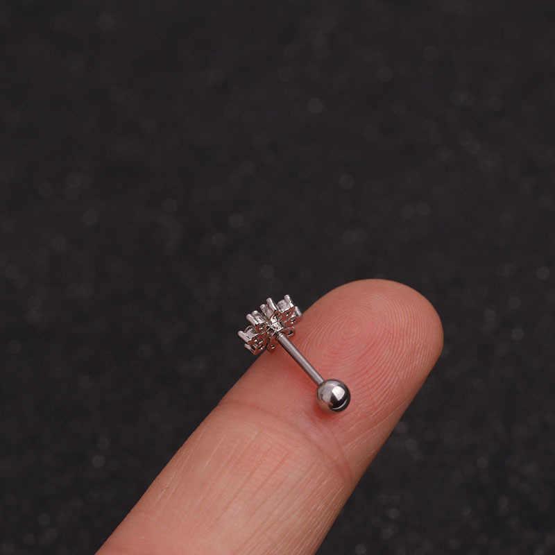 Cor de prata cruz coração flor coroa cz orelha studs hélice piercing cartilagem brinco conch rook tragus orelha piercing jóias