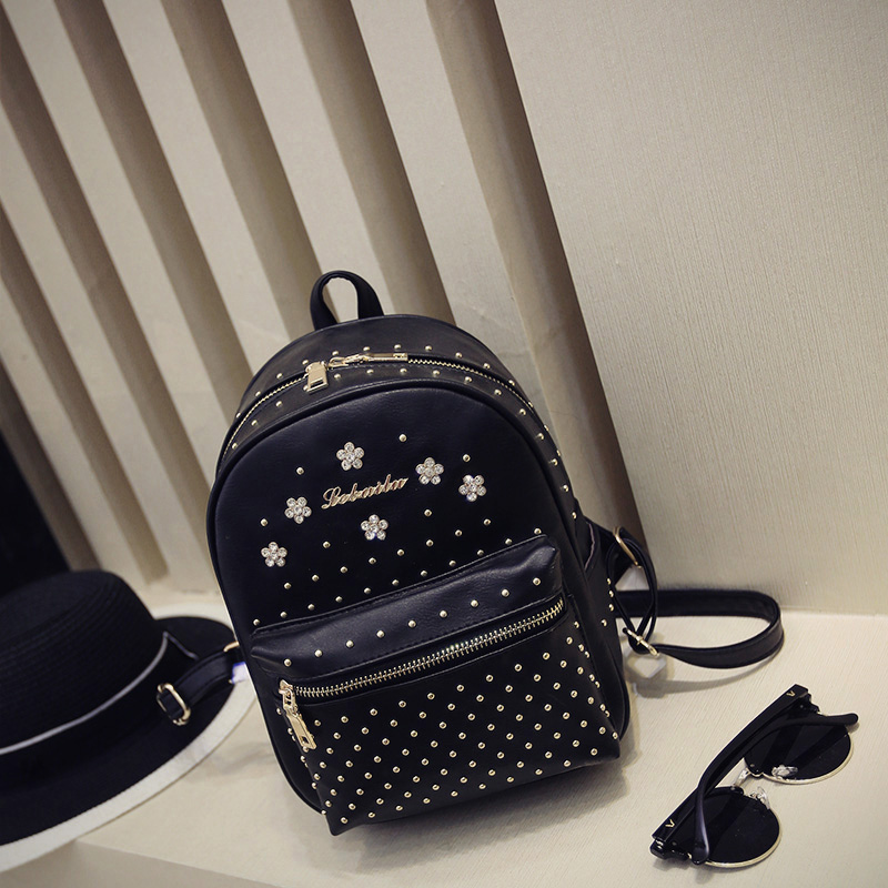 Mochilas Printing Backpack Mochila Escolar The 20167 Season Of New Korean Small Female Leather Backpack Bag, Leisure Rivet Bag 2016 new lady chest pack female leather satchel leisure korean tide printing leather sports backpack bag chest free shipping