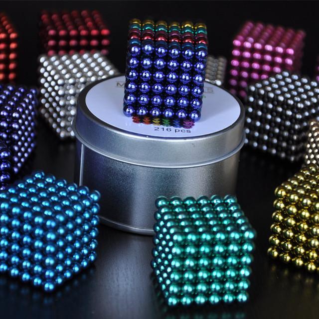 216 unids 5mm imanes de neodimio bolas magnéticas esferas bolas cubo mágico puzzle regalo de cumpleaños para los niños-con metal caja