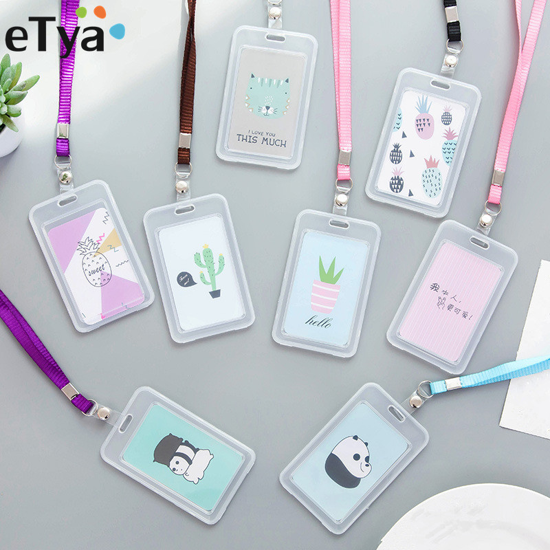 ETya 1PCS Cute Travel Credit Card Holder Bag Transparent ID Cards Passport Business Bank Card Coin Cover Case With String