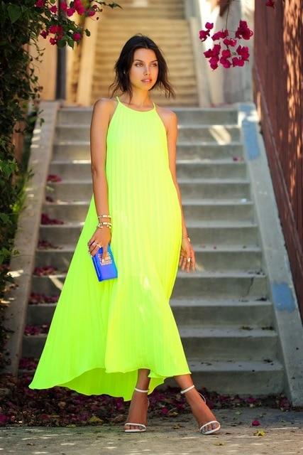 2015 NEW Summer Dress Women Neon Plus Size Desigual Maxi Dresses ...