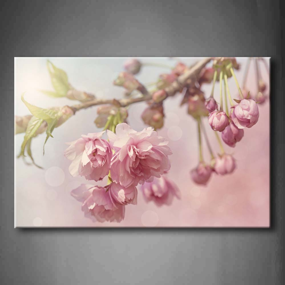 Framed Wall Art Picture Cherry Blossom Tree Spring Canvas Print Flower Modern Posters With Wooden Frames For Living RoomFramed Wall Art Picture Cherry Blossom Tree Spring Canvas Print Flower Modern Posters With Wooden Frames For Living Room