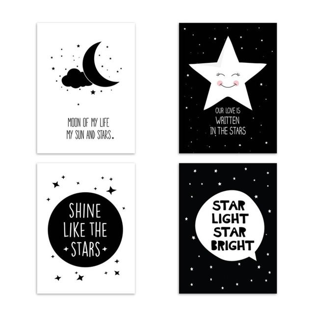 Modern Design Cartoon Painting Star Quotes Pattern Art Print Poster