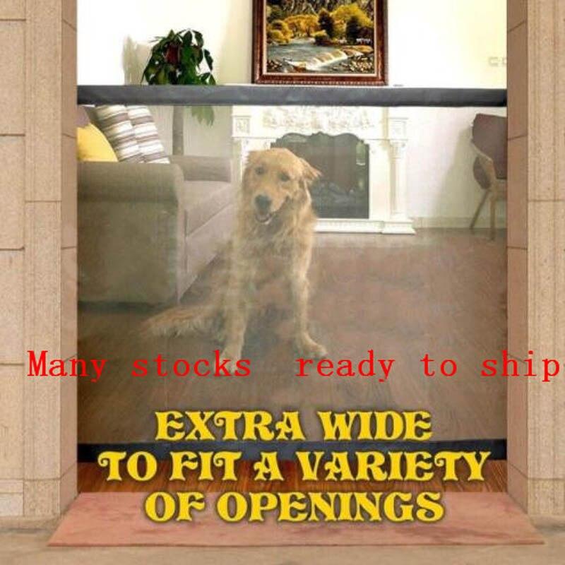 Dropshipping 2018 Puerta de perro la ingeniosa puerta mágica de malla para perros guardia segura e instalación de cercas de seguridad para perros
