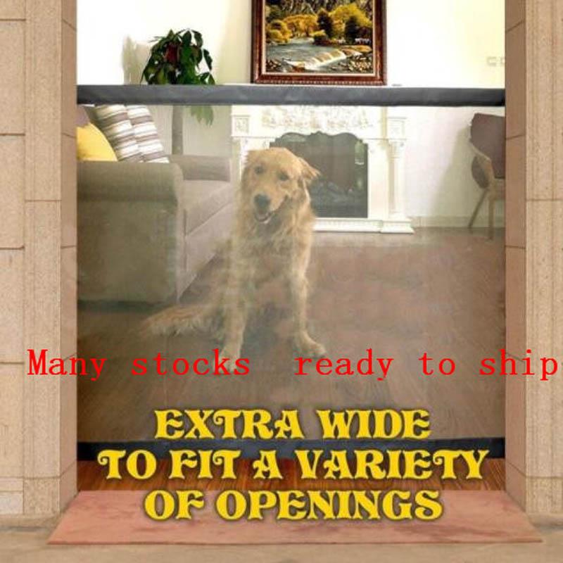 Dropshipping 2018 puerta perro el ingenioso malla mágica puerta para mascotas para perros protector seguro e instalar perro caja de seguridad cercas perro