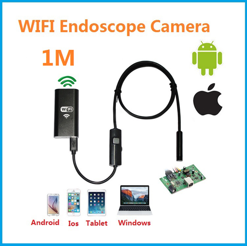 Endoscope Camera 8mm 1M Wifi IOS/Borescope IP67 Waterproof Inspection Iphone Endoscope Android PC HD Camera No Usb mool 10m wifi usb waterproof borescope hd endoscope inspection camera for android ios