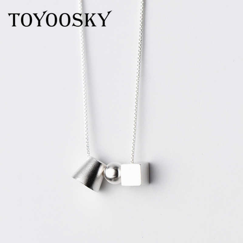 e7766e3128a834 925 Sterling Silver Cube Sphere Geometry Necklaces & Pendants For Women  Girls Casual Lady Sterling-
