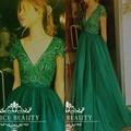 Sexy Profundo Cuello En V Vestido de Noche Largo Con Mangas Pesado lentejuelas rebordear un line vestido de festa del partido de baile vestido de 2017