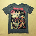 Tops Tees Cotton T Shirts Rappers Vintage 3D Printed Character METALLICA Skull Pattern Brand Summer Masculinas Camisetas Hip Hop