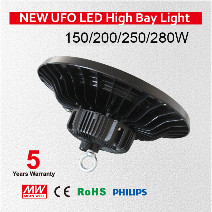 250W UFO LED High Bay Lighting,Ultra Slim,Daylight White(6000-6500K),Commercial Industrial Chandelier,