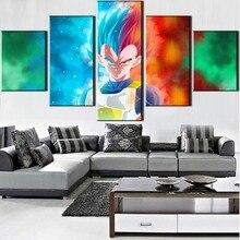 Canvas Art Vegeta Dragon Ball Super 5 Pieces Anime Painting Wall Modern Home Decor HD Print Modular Picture Artwork Framed