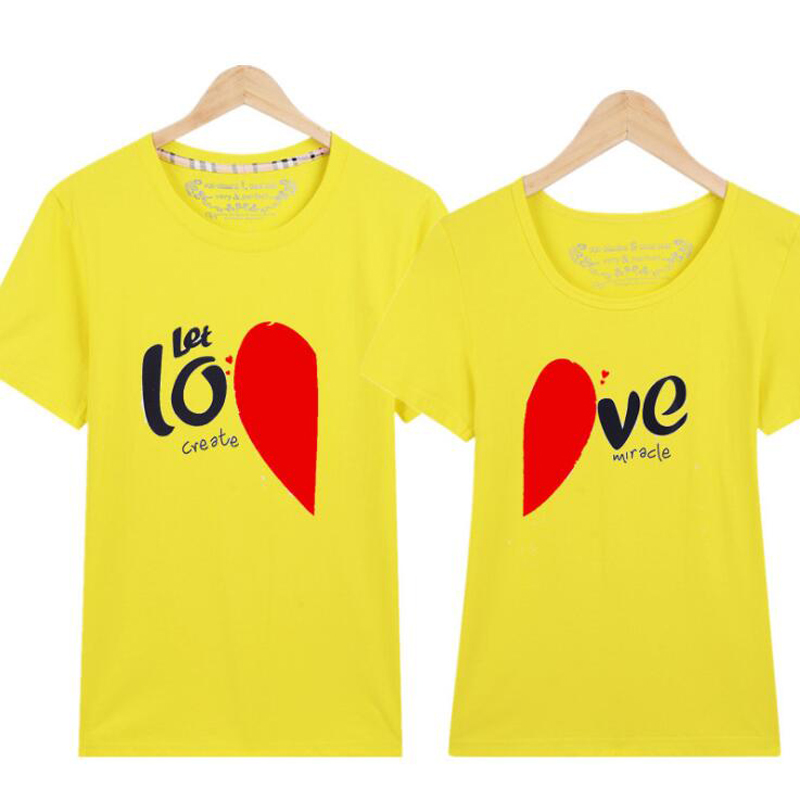 Korean Fashion Matching Couple Clothes Heart LOVE Print T-Shirt Women Men Cotton Short Sleeve Couple T Shirt For Lovers Tshirt