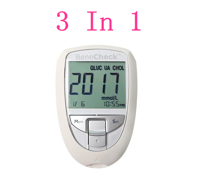 3 in 1 blood lipid detector Multifunctional analyzer blood sugar Glucometer Gout uric acid tester Cholesterol test strips needle