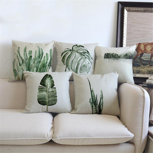 Tropical Plants Green Leaves Cushion Cover Home Decor Plant Palm Leaf Decorative Chair Sofa Throw Pillow