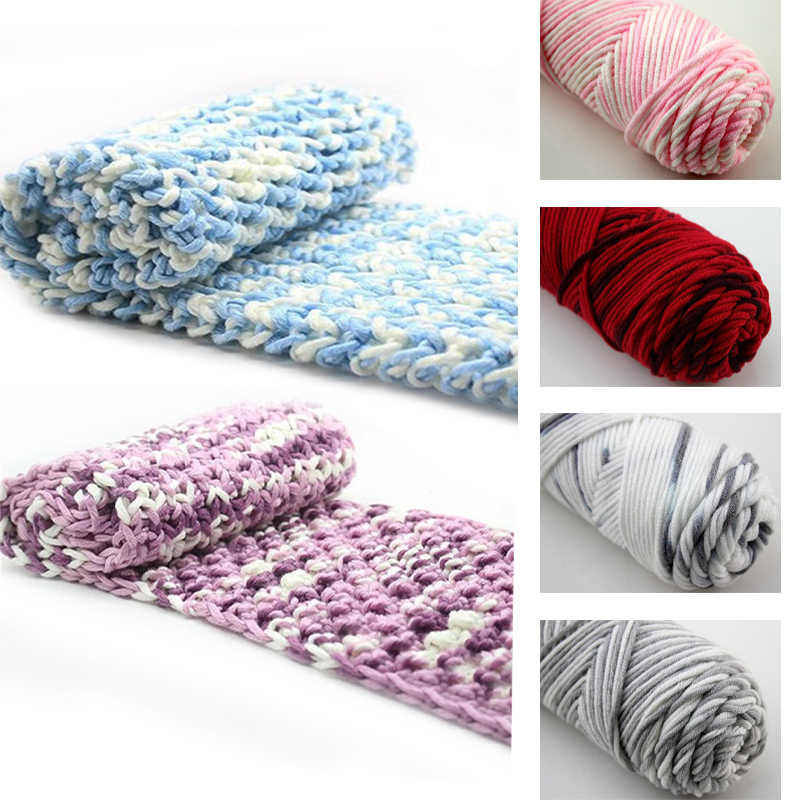 2019 100g 8 Strands Milk CottonYarn Soft Warm Baby For Hand  Knitting Supplies wool scarf line thick cotton thread hat slippers