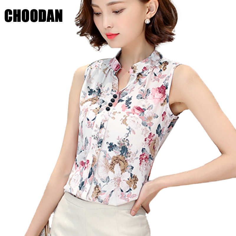 60083d8ef45 Blouse Shirt Women Casual Sleeveless Blouses Female 2018 New Korean Fashion  Stand Collar Flower Print Ladies