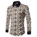 2017 Весна мужская Плед Дизайн С Длинным Рукавом Рубашка Homme Slim Fit Стиль Китайский Размер M-3XL