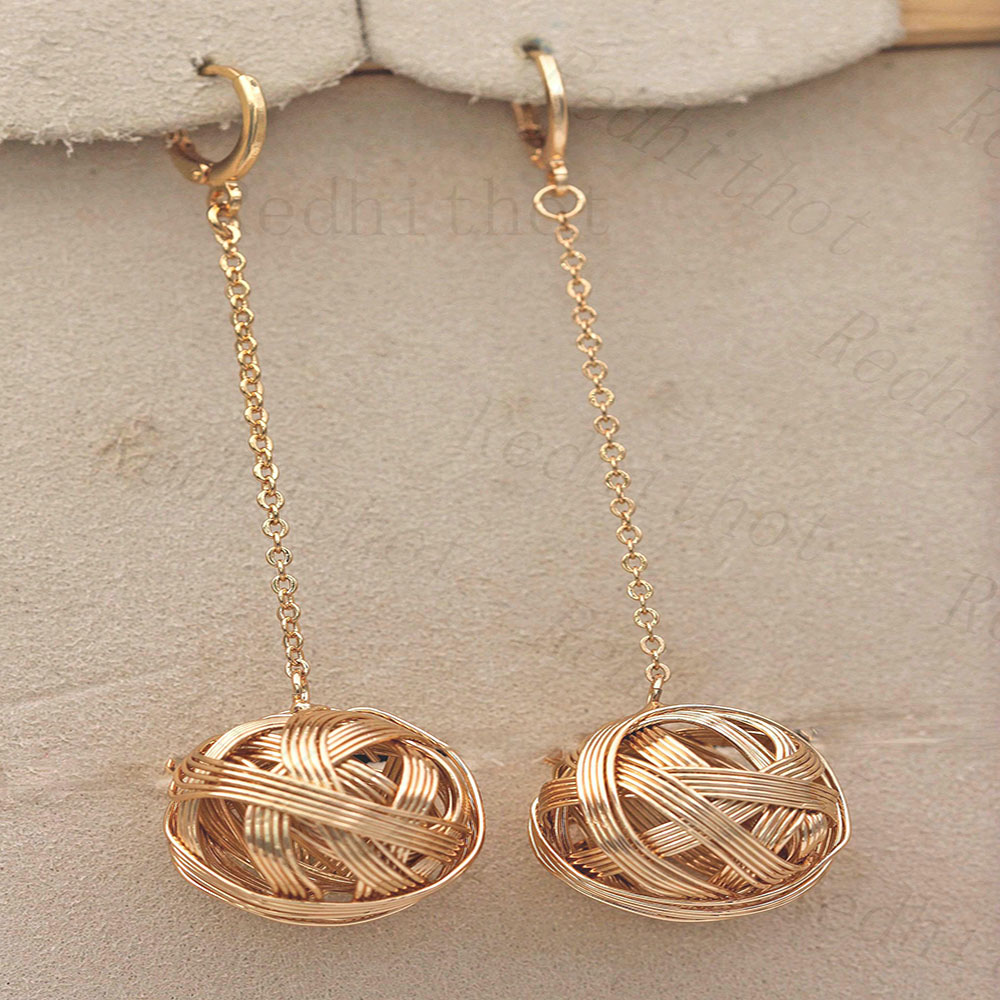 Earrings for Women Gold Plating Disco Ball Flash Drop Earring Round Rock Punk Earrings Trendy Jewelry for Party Club