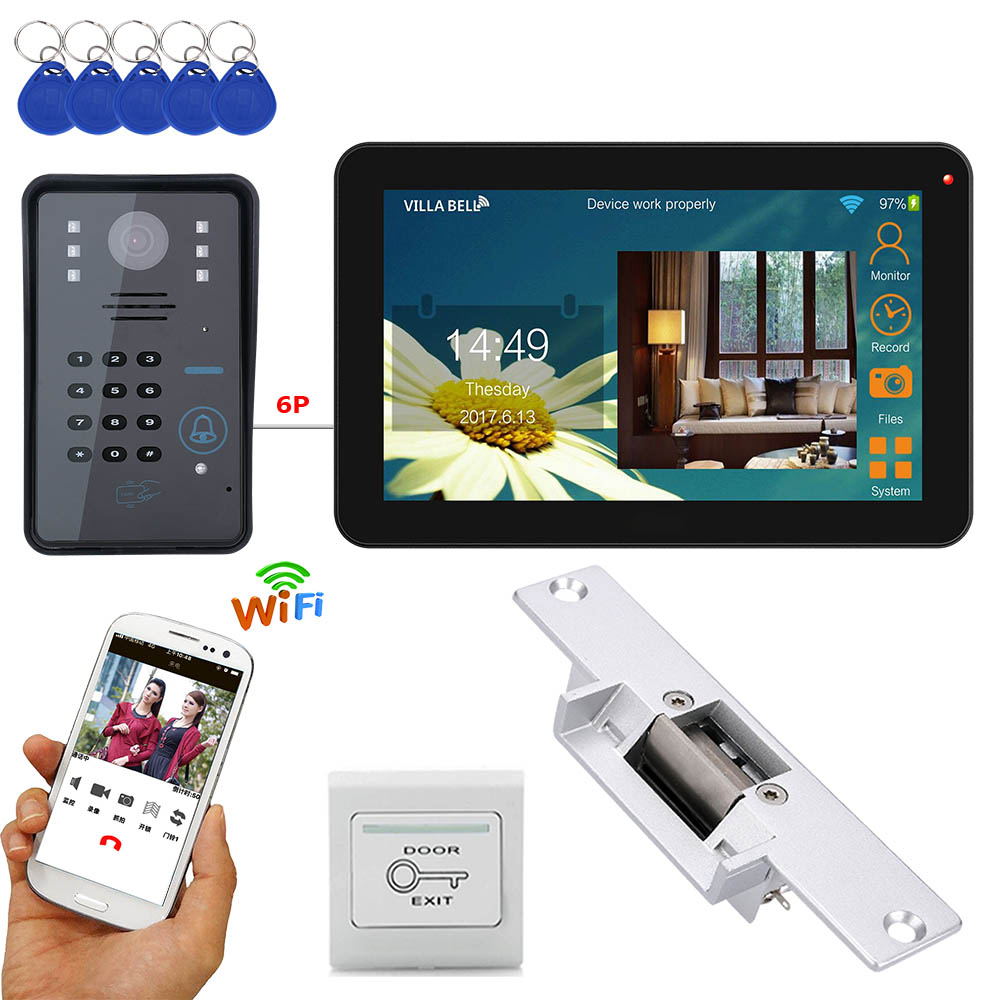 MAOTEWANG  9 Inch Wired / Wireless Wifi RFID Password Video Door Phone Doorbell Intercom System With Electric Strike Lock