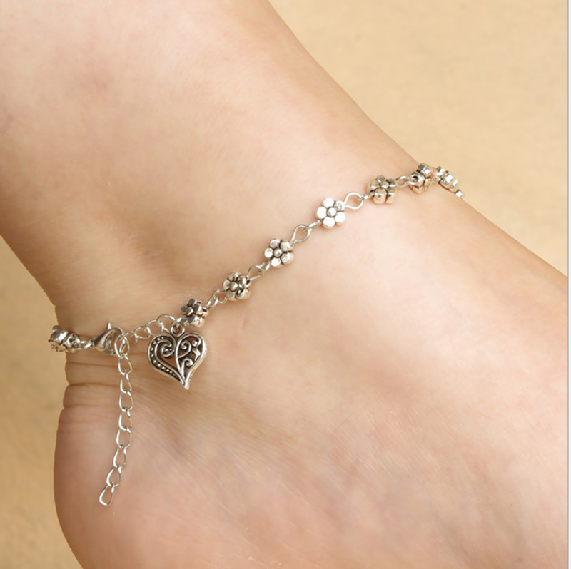 New Fashion Fine Jewelry Foot Chain Tibetan Silver Hollow Plum Flowers Peach Heart-Shaped Anklet Girls Free Shipping
