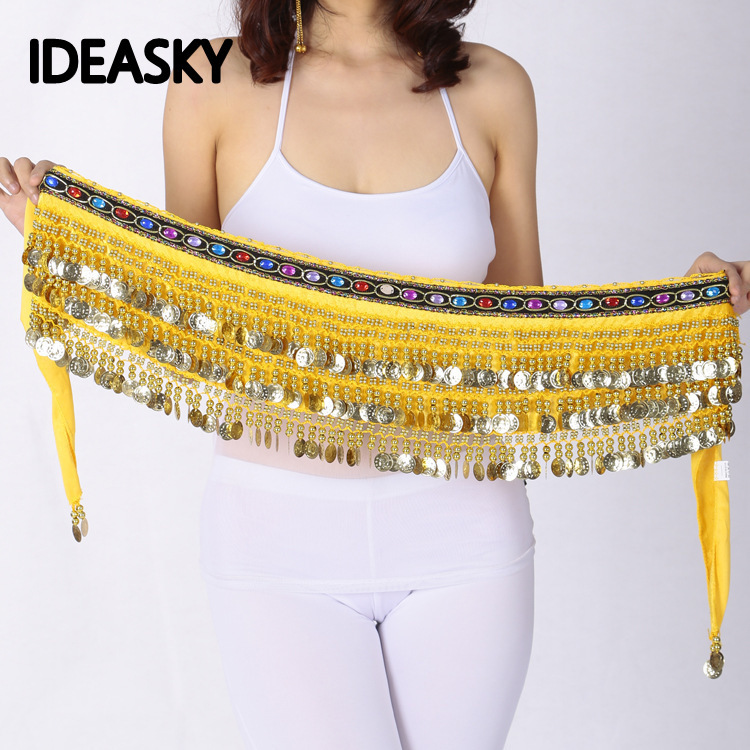 Silver Coins Sequins Beads Thick Belly Dance Hip Scarf Wrap Belt Velvet