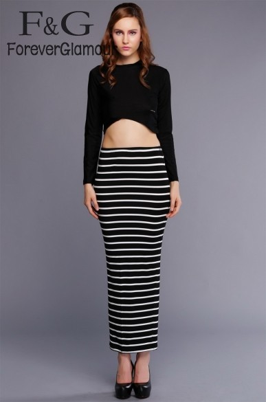 Lady Women's Crop Tops Set Striped Bodycon Stretch Sexy clothes Sets Long Sleeve Blouse + Long Skirt Set 29