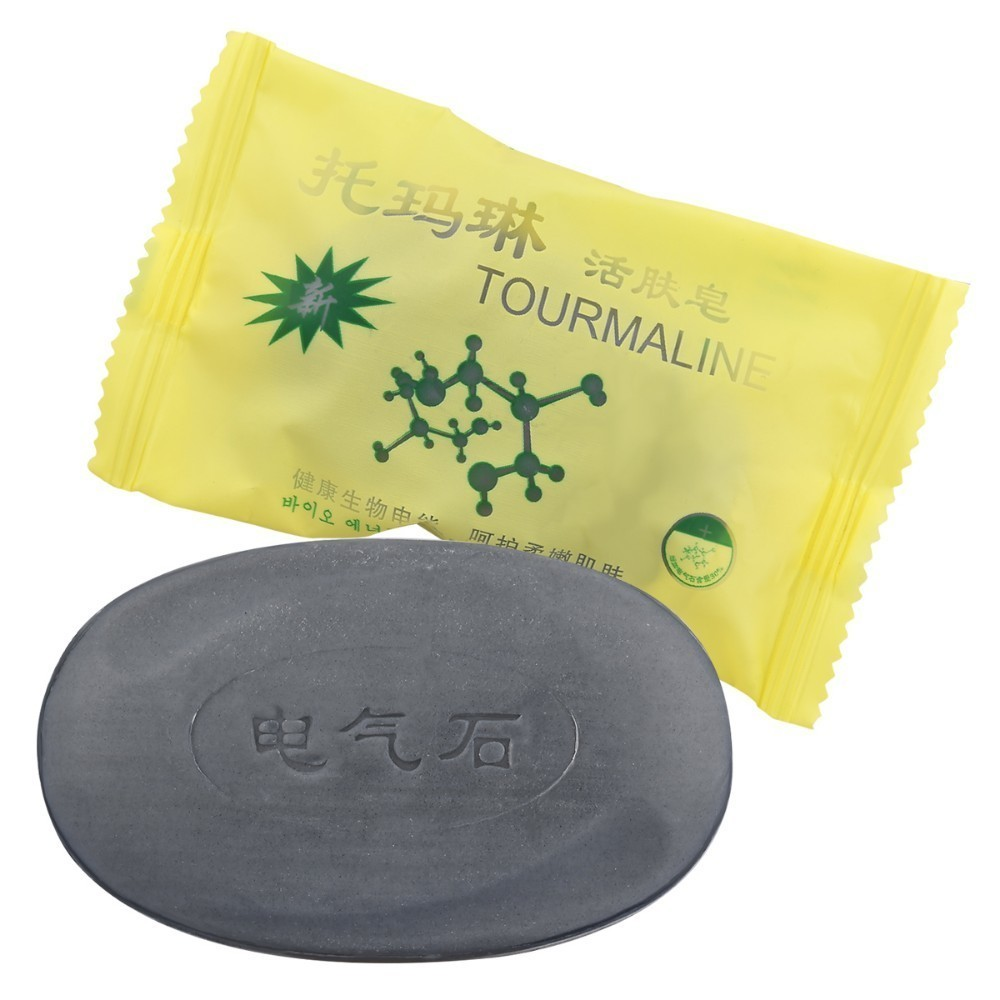 50g Tourmaline Black Soap Natural Acne Soap Jabon Savon Travel Shampoo Traditional Charcoal Active Face Bamboo Charcoal Soap