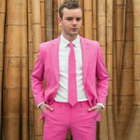 Jacket+Pants Hot Pink Tuxedo Men's Wedding Suits 2017 New Classic Formal Business Slim Fit Prom Party Groomsmen Tuxedo 2 Piece