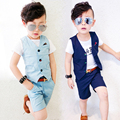 2016 New 3 Designs Children Hemp Vest Suits for Boys Brand England Style Kids Summer Weddings Waistcoat Suits Boys Outwear, C056