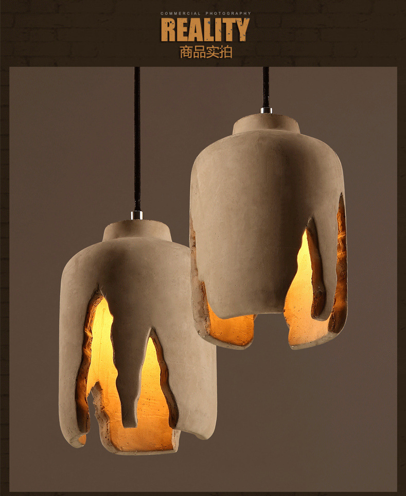 Loft Industry Cement Pendant Light For Restaurant Dining Room E27 Home Decoration Creative Indoor Lighting Hanging Lamp WPL054 eiceo nordic ancient art cement resin creative pendant lamp minimalist retro cement lampshade for indoor cafe bars decor light