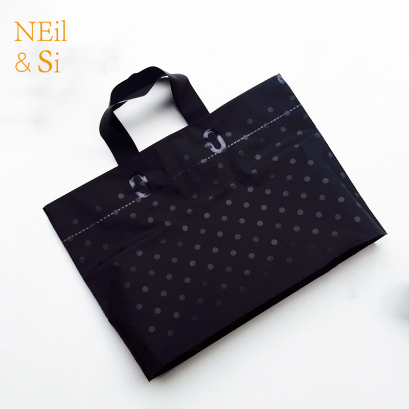 Plastic gift handle bag black shopping t shirt clothes for Plastic t shirt bag